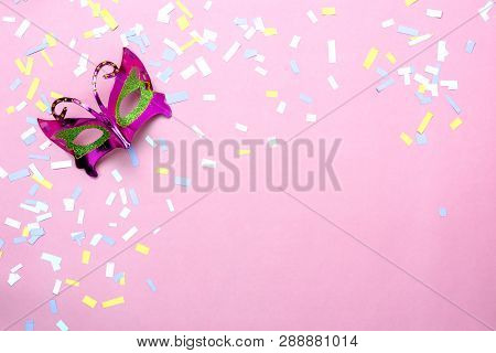 Table Top View Aerial Image Of Beautiful Colorful Carnival Season Or Photo Booth Prop Mardi Gras Bac