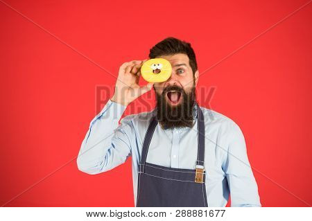 You Are What You Eat. Baker Hold Donut. Funny Hipster. Bearded Man Cook. Chef Man In Cafe. Diet And