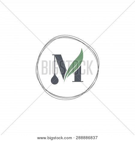 M Letter Icon Logo Design With Abstract Circle Swoosh Leaf. Creative Simple M Letter Design. Vector