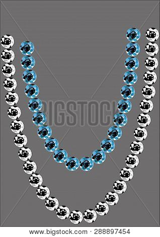 A sample of beads from sapphires and diamonds on a gray background. Natural blue and white, transparent stones pattern. Vector graphics, illustration of products made of rare gems, blue sapphires, white, transparent diamonds. poster