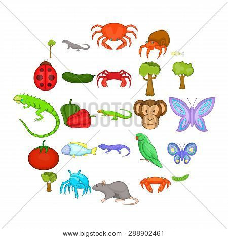 Crustaceans Icons Set. Cartoon Set Of 25 Crustaceans Vector Icons For Web Isolated On White Backgrou