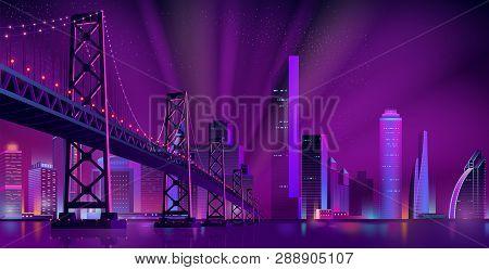 Cartoon Vector Urban Background With Modern Metropolis District, Illuminated Skyscrapers Buildings,