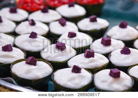Tako (traditional Thai Pudding With Coconut Topping) Is Dessert Of Thailand, Made Of Flour, Sugar, C