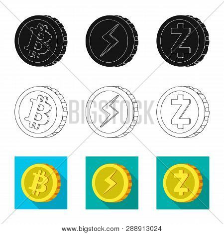 Vector Design Of Cryptocurrency And Coin Symbol. Collection Of Cryptocurrency And Crypto Stock Vecto