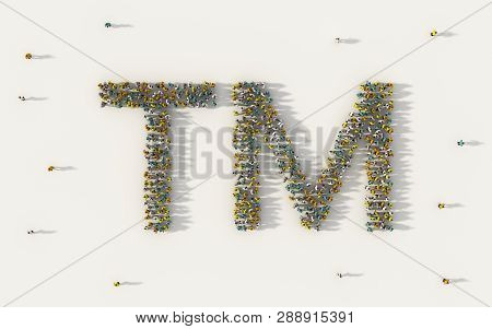 Large Group Of People Forming Tm Or Trade Mark Icon In Social Media And Community Concept On White B