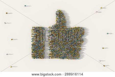 Large Group Of People Forming A Thumb Up Icon In Business, Like Button In Social Media, And Communit