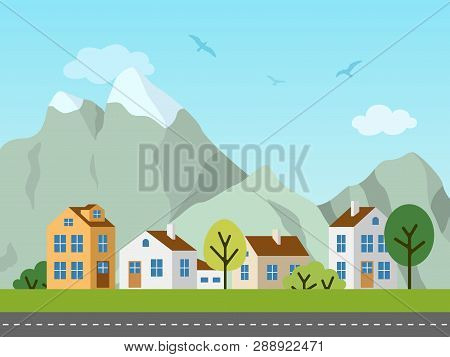 City Urban Vector Landscape, Cottages And Mountains