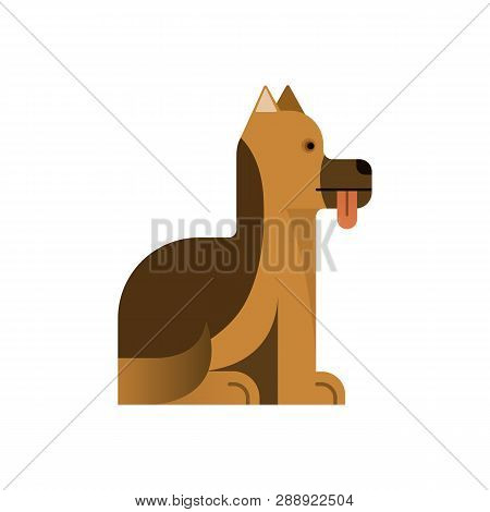 Sheepdog Sits With His Tongue Sticking Out. Pedigree Dog Gives Paw. Vector Illustration. Flat Icon.