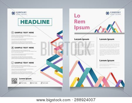Abstract Colorful Stripe Line Overlap Brochure Corporate Template. You Can Use For Modern Design Of