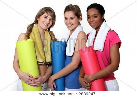 Woman getting ready for gym class