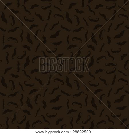 Man Mustache Photobooth Art Seamless Dark Brown Wallpaper Pattern