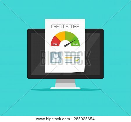 Credit Score Online Report Document On Computer, Flat Cartoon Digital Ranking Loan Record On Pc Clip