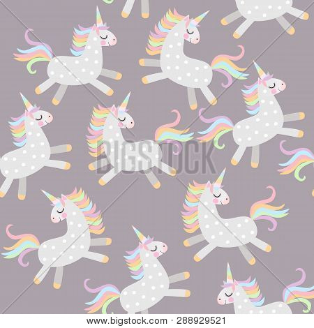 Seamless Pattern With Cute Unicorns Frolicking In The Evening Sky  In Vector. Print For Fabric.