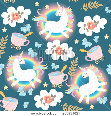 Seamless Fairy Pattern With Frolicking Unicorns, Rainbow, Clouds, Rose Flowers, Cup Of Tea, Blue But