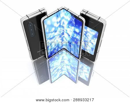 First Serial Flexible Phone With Color Screen 3d Render On White Background