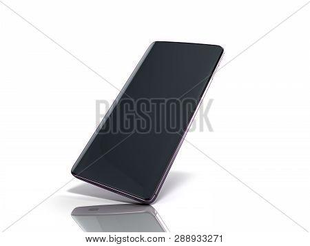 Modern Full Screen Smart Phone 3d Render On White
