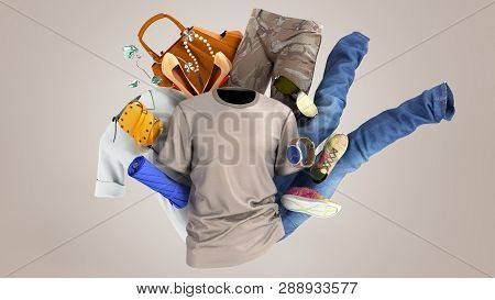 Concept Of Product Categories Clothing And Accessories On Grey Background