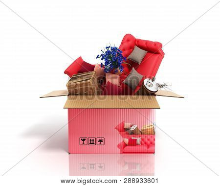 Concept Of Product Categories Furniture And Decor In The Box On White Background