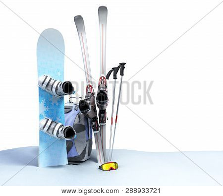 Concept Of Winter Tourism Snowboarding And Skiing In The Snow 3d Render On White