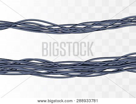 Electric Cables.realistic Electrical Gray Industrial Wires. Wire Connection, Cable Electric Power, C