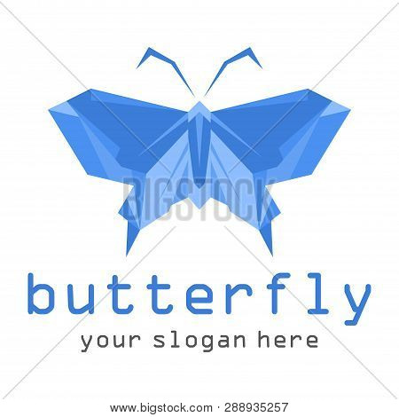Blue Butterfly Icon Isolated On White Background.colorful Butterfly. Butterfly Icon In Trendy Design