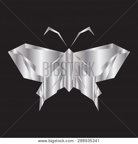 Silver Butterfly,butterfly Icon Isolated On Black Background.colorful Butterfly. Butterfly Icon In T