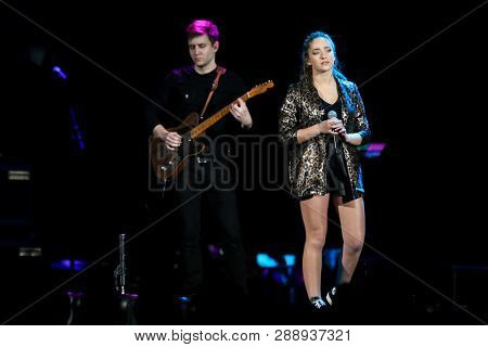 UNIONDALE, NY - MAR 07: Singer Brynn Cartelli performs in concert at NYCB Live on March 7, 2019 in Uniondale, New York.