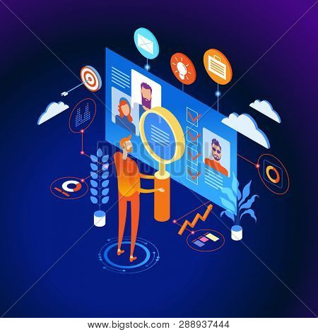 Know your customer concept. Modern business technology. The person interacts with potential customers. Businessman works with these graphs and diograms. 3d vector isometric illustration.