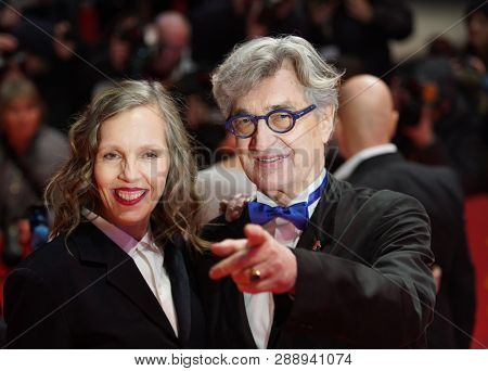 Wim Wenders  and his wife Donata Wenders  attend the 'The Kindness Of Strangers' premiere during the 69th Berlinale International Film Festival Berlin on February 07, 2019 in Berlin, Germany.