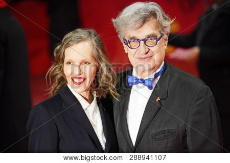 Wim Wenders and his wife Donata Wenders attend the 'The Kindness Of Strangers' premiere during the 69th Berlinale  Festival Berlin on   February 07, 2019 in Berlin, Germany.