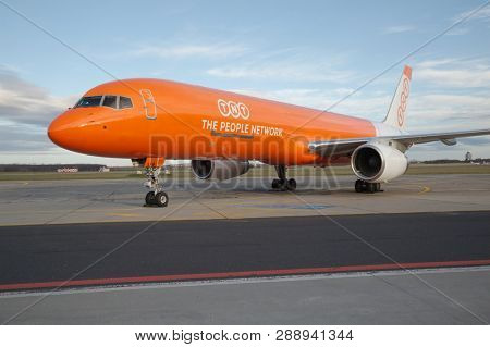 BUDAPEST, HUNGARY - DECEMBER 01, 2015: Boeing 757-200PF cargo aircraft of Belgian TNT Airways, now known as ASL airlines parked in Budapest