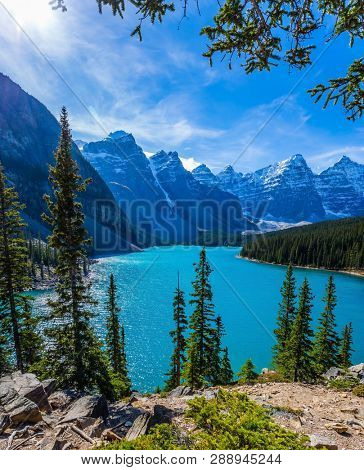 Canadian Rockies, Province of Alberta, Park Banff. Lake Moiraine in the Valley of the Ten Peaks. The concept of ecological, photographic and active tourism