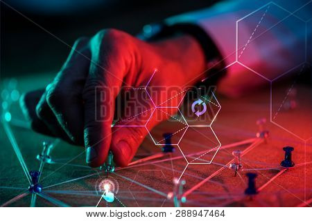 Man planning a business with pushpins poster
