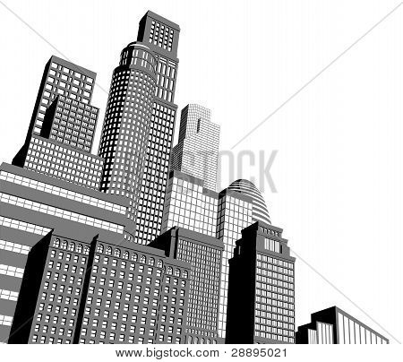 Monochrome City Skyscrapers