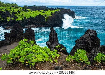 Sharp volcanic coast of the east Maui near the Waianapanapa State Park with green lush vegetation and fierce ocean waves. Hawaii poster