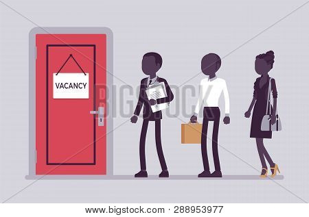 Vacancy Door Sign In Office, Job Applicants. People Searching For Work, Potential Job Candidates Int