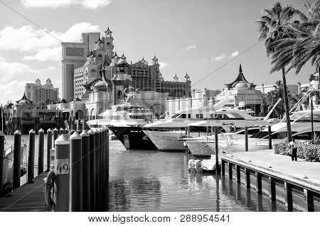 Nassau, Bahamas - March 9. 2016: The Atlantis Paradise Island Resort, Located In The Bahamas . The R