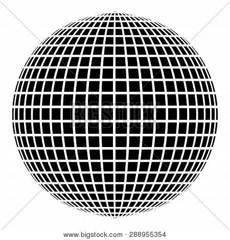 Disco Ball Disco Party Concept Ball World Concept Web Idea Icon Black Color Vector Illustration Flat