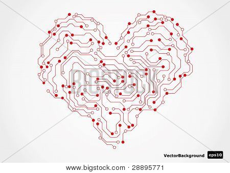 Eletronic Circut Board In Shape Of Heart. Vector Illustration