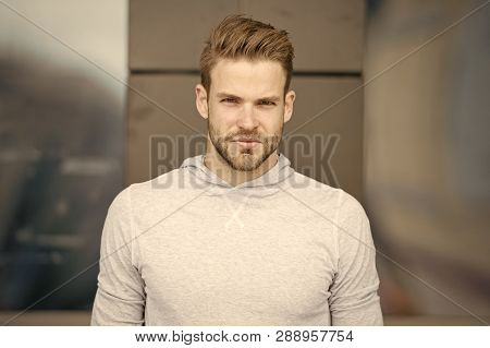 He Radiates Confidence. Guy Bearded Attractive Care Style And Appearance. Man With Bristle Strict Fa