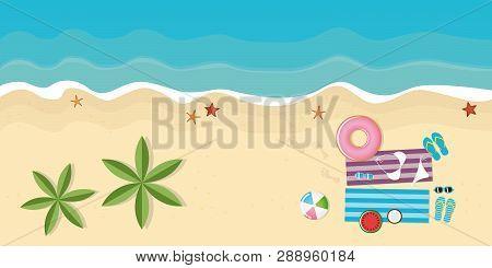Beautiful Day On The Palm Beach With Beach Utensils Starfish Flipflops Bikini Sunglasses Watermelon