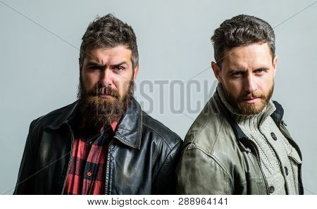 Men Brutal Bearded Hipster. Handsome Stylish And Cool. Masculine And Brutal Friends. Bully Team. Mas