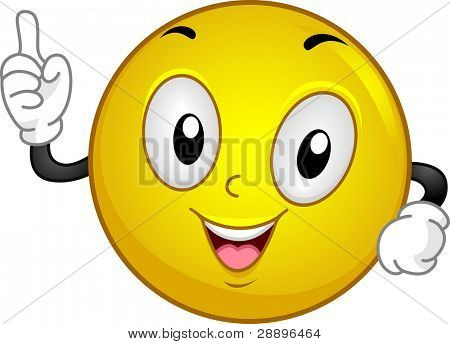 Illustration of a Smiley Having an Aha! Moment