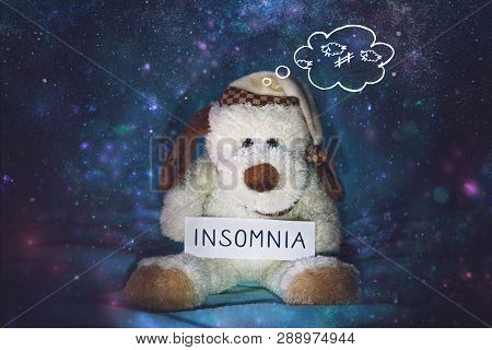 Insomnia, Sleeplessness, Sleep Disorder, Trouble Sleeping, Mental Exercise Concept. Soft Toy Dog In