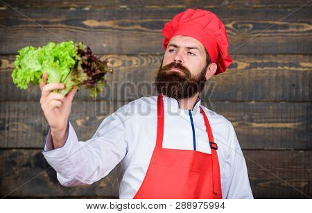 Healthy Raw Food. Eat Healthy. Dieting Concept. Man Wear Hat And Apron Hold Salad. Healthy Nutrition