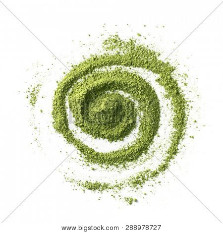 Abstract drawing with green Japanese Matcha tea powder isolated on white background