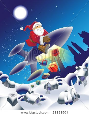 Millennium Santa delivering the gifts in an unusual way