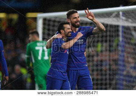 LONDON, ENGLAND - MARCH 7 2019: Pedro of Chelsea celebrates scoring a goal during the Europa League Round of 16, first leg match between Chelsea and Dynamo Kyiv at Stamford Bridge on March 7 2019