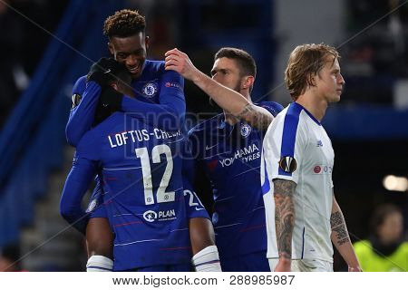 LONDON, ENGLAND - MARCH 7 2019: Callum Hudson-Odoi of Chelsea celebrates scoring a goal during the Europa League Round of 16, first leg match between Chelsea and Dynamo Kyiv at Stamford Bridge