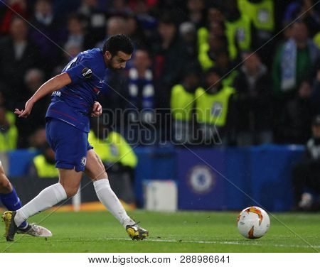 LONDON, ENGLAND - MARCH 7 2019: Pedro of Chelsea scores a goal during the Europa League match between Chelsea and Dynamo Kyiv at Stamford Bridge.